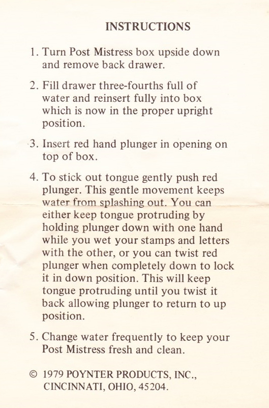 Post Mistress Instructions scan